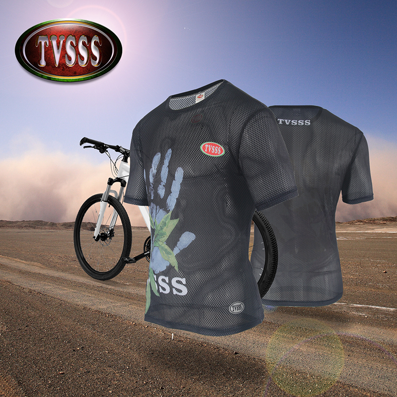 TVSSS Men Cycling Jerseys Summer Short-Sleeve T-Shirt Black Large  Ventilation Holes Quick-Drying Translucent Bicycle Clothes 387247ffe