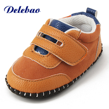 Delebao Stripe Big Magic Stick Baby Shoe (Suitable For Outdoor) 0-18 Months Non-slip Soft Sole Toddler Shoes Pu Ordorless