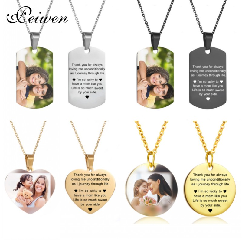 Mothers Day Heart Shape Round Necklace Personalized Nameplate Custom Name Photo Gold Chain Necklace Women Men Customized JewelryMothers Day Heart Shape Round Necklace Personalized Nameplate Custom Name Photo Gold Chain Necklace Women Men Customized Jewelry