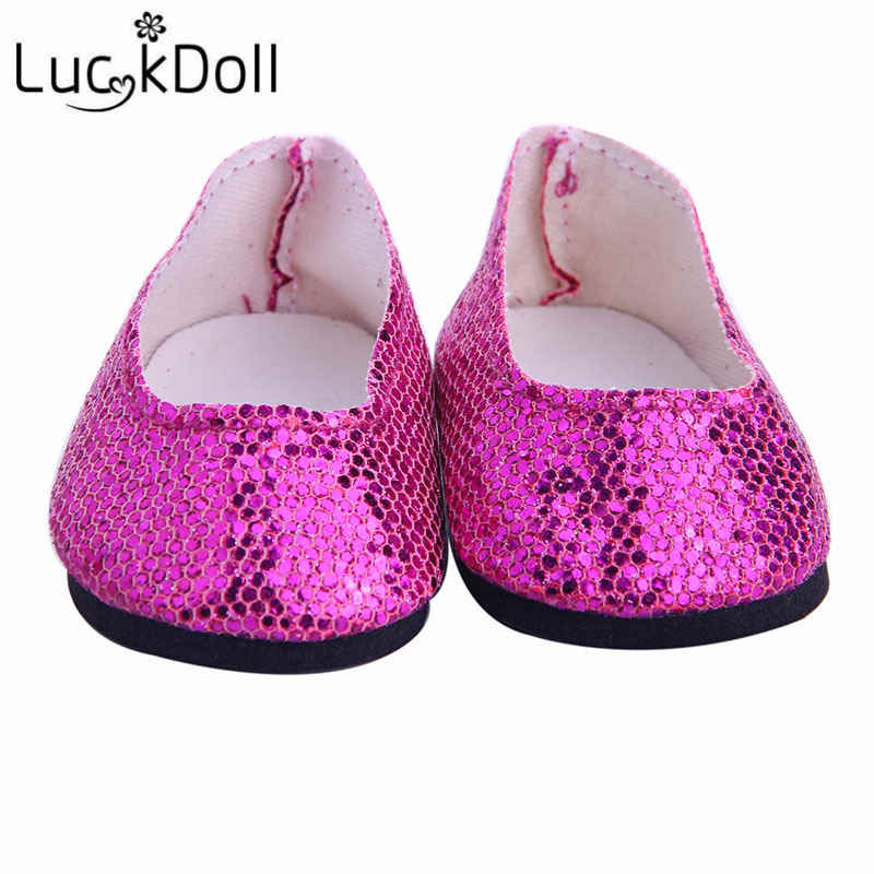 LUCKDOLL טהור צבע מבריק נעלי Fit 18 אינץ אמריקאי & 43 CM תינוק אביזרי בגדי בובה, ילדה של צעצועים, דור, מתנת יום הולדת