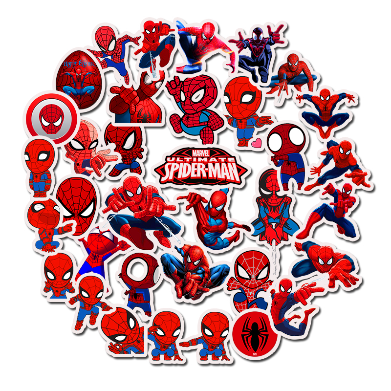 35PCS Spider Man Marvel Stickers Pack Movies Character Sticker For DIY Skateboard Luggage Motorcycle Laptop Cartoon Sticker Sets