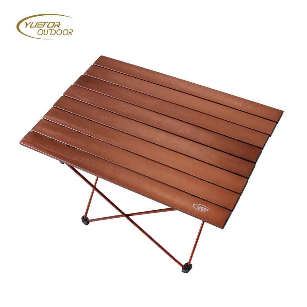 YUETOR OUTDOOR HOT Medium Size Ultra Light Portable Foldable Folding Table  Desk Camping Outdoor Picnic Aluminium Alloy Brown