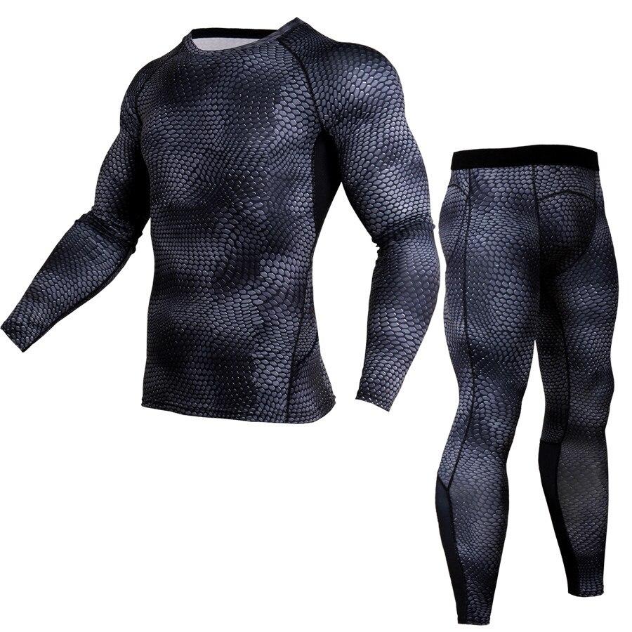 LENTHIMEN 2018 Crossfit Sportswear Sets Men 2 Piece Suits Comopression Shirt Fitness 3D T Shirt Tight Bodybuilding Tracksuit MMA