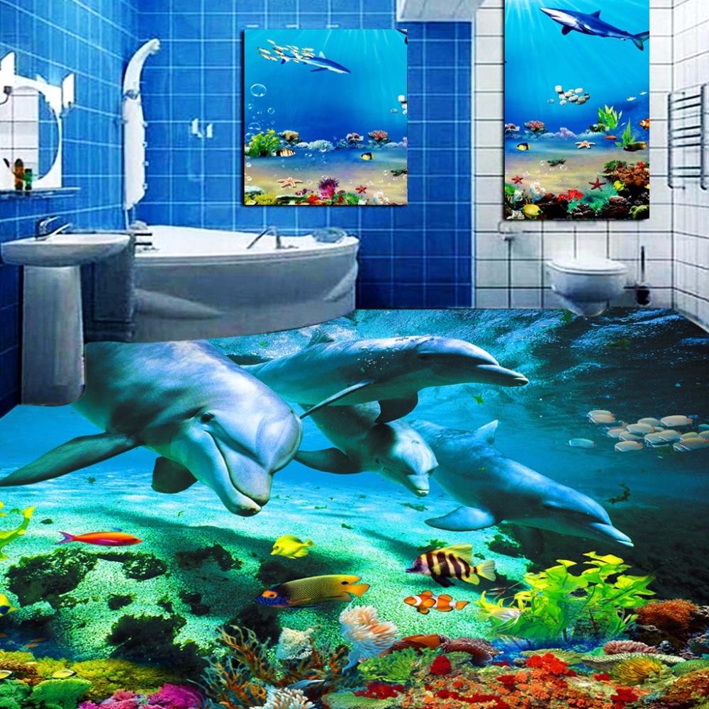 Custom 3D Floor Sticker Ocean World Dolphin Toilets Bathroom Bedroom Vinyl Floor Mural PVC Waterproof Wallpaper Painting Modern