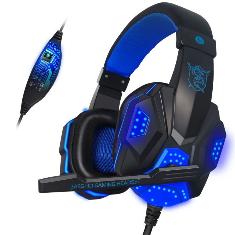 Onikuma PC780 Wired Gaming auriculares 3.5mm HiFi bajo estéreo Gaming Headset LED parpadeante Gaming auriculares con micrófono USB Plug