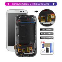 For Samsung Galaxy S S3 i9300 i9300i i9301 i9301 lDisplay Screen Digitizer Touch Panel Glass Sensor Assembly Replacement+Frame