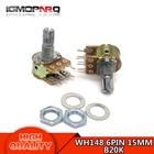 5pcs WH148 6PIN B20K Dual Stereo Potentiometer 20K Ohm shaft 15mm Pot 20K Ohm R