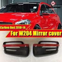 Para mercedes w204 c63amg estilo de fibra de carbono espelho lateral capa com linha vermelha 1:1 substituição c classe porta lateral espelho capa 10-14