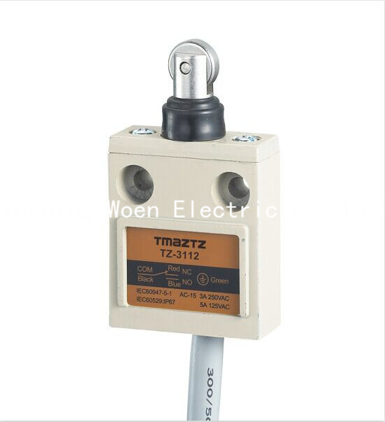 Tmaztz TZ-3112 IP67 4Wire Roller Lever Plunger Limit Switch SPDT NO+NC  Copper wire 3M 10pcs limit switches 3 pin n o n c 5a 125v 250vac micro switch roller lever arm pcb terminals kw12 3