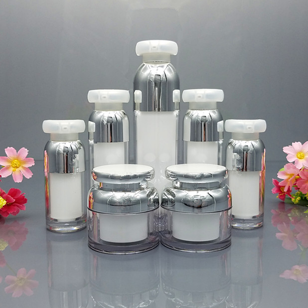 10pcs White Acrylic Cream Bottle Jar Cosmetic Container Face Cream Bottle Jar Acrylic Lotion Pump Bottle 30g 50g 30ml 50ml 15ml 10 50pcs 18 24r white black clear plastic powder press pump head nozzle for cosmetic lotion emulsion bottle with clear full cap