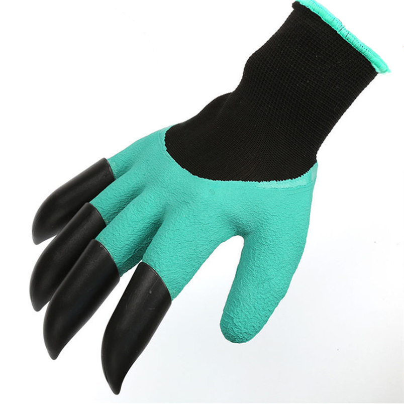 Garden Gloves For Dig Planting Rubber Polyester Builders Garden Work ABS Plastic Claws Safety Working Protective Gloves