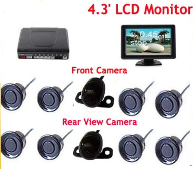 8 Sensors Dual Core Parking Reverse Radar System with 2 Camera (Front +Rear) Car Reversing image &distance on 4.3' LCD Monitor for ford escape maverick mariner car parking sensors rear view back up camera 2 in 1 visual alarm parking system