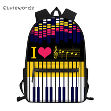 ELVISWORDS Children's School Backpack Music Piano Design Pattern Junior Students School Bags for Boys and Girls Travel Backpacks bad dog mr panda embossing boys and girls students bag backpacks school travel backpack famous brand cartoon bags 2016 new hot