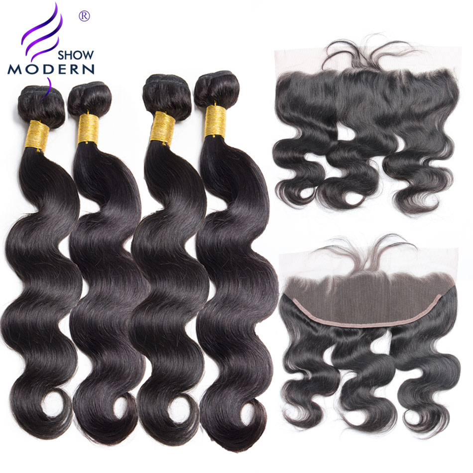 Brazilian Body Wave Lace Frontal Closure With Bundles Modern Show 4 Pcs Human Hair Bundles With Closure Non Remy Hair Extensions