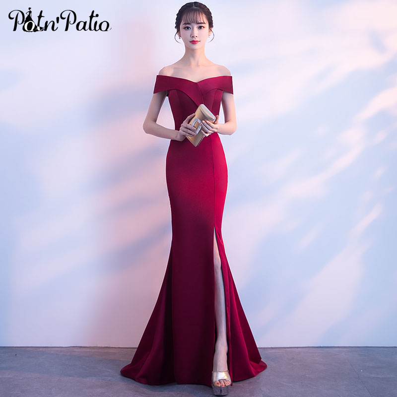Burgundy Mermaid   Prom     Dresses   With Train Elegant Boat Neck Off The Shoulder Sexy Slit   Prom     Dresses   Long Plus Size