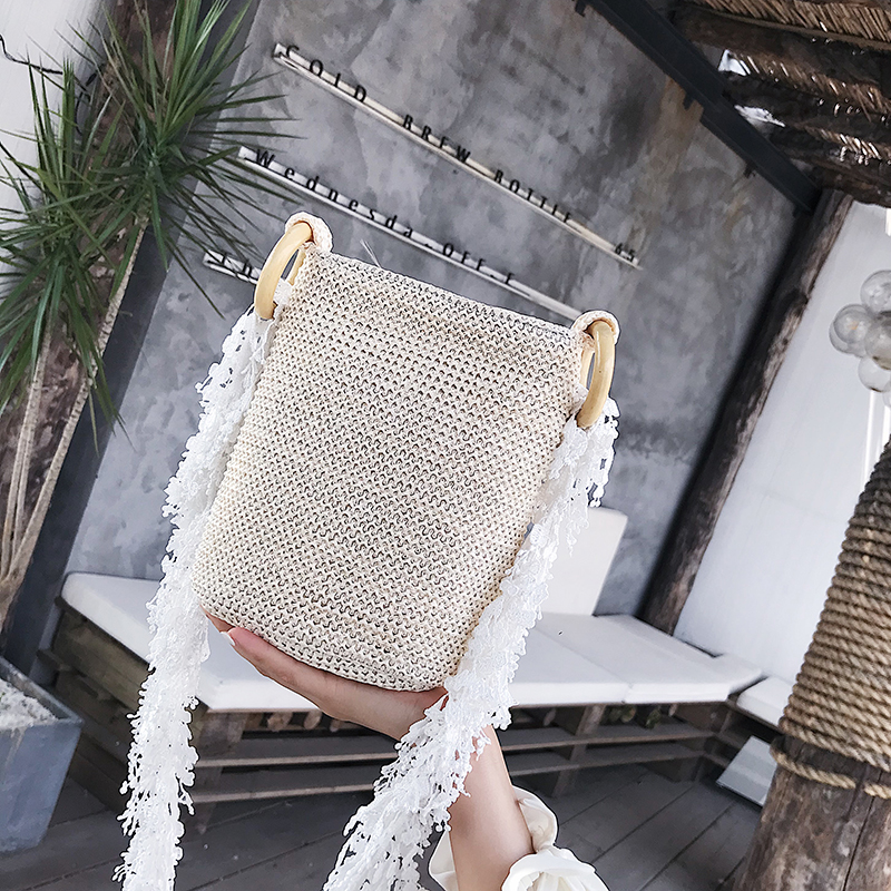 Add Favorite To Get A 2$ Coupon Summer Durable Weave Straw Beach Feminine Linen Woven Bucket Grass Tote Handbags