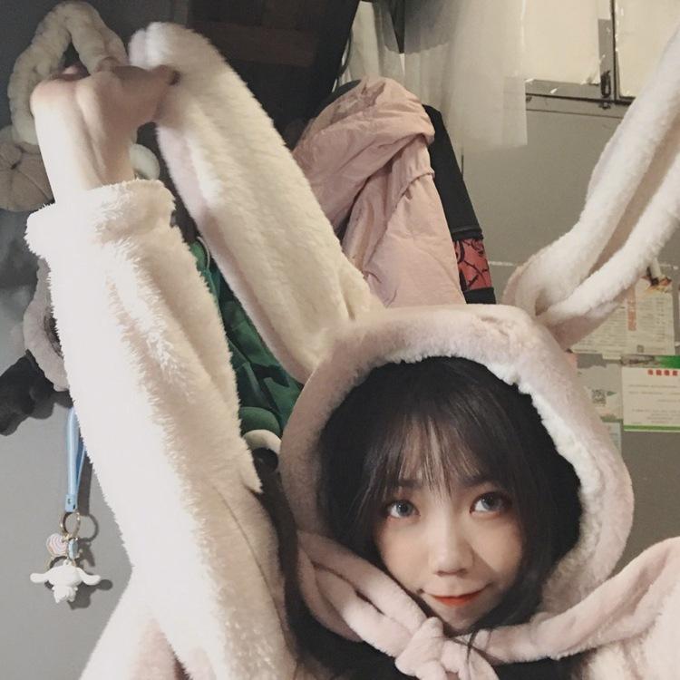 Cute Pink Comfy Blanket Sweatshirt Winter Warm Adults and Children Rabbit Ear Hooded Fleece Blanket Sleepwear Huge Bed Blankets 43