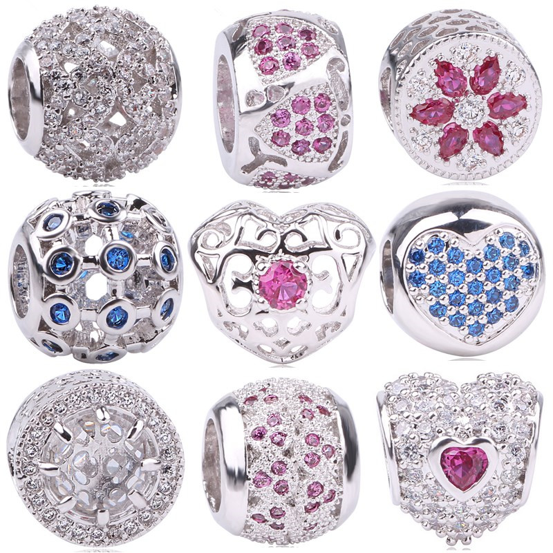 AIFEILI Original Silver Color Cubic Zirconia Pave Radiant Flower Bloom Christmas Charm Beads Fit Pandora Bracelets Winter