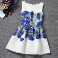 I LEEBAY Moda Adolescente Delgada Vestido de Verano de La Muchacha Sin Mangas Blue Rose Impreso Vestidos para la Fiesta de Cumpleaños de La Muchacha Trajes Vestidos