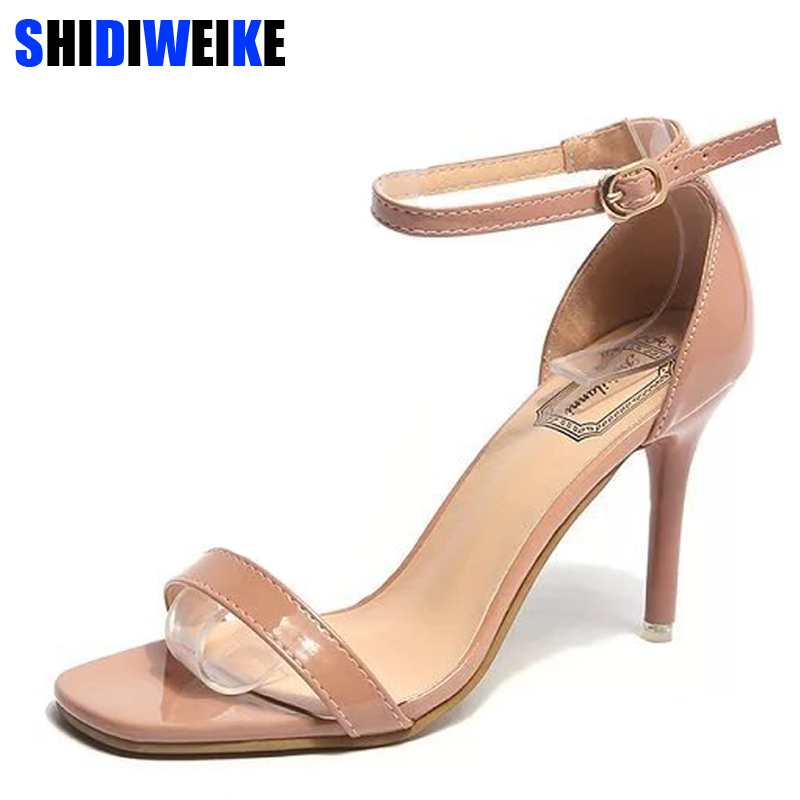 Women Sandals 2018 Summer High Heels Sandal Nude Heels Sandals Women Concise Patent Leather Party Dress Shoes Woman m461 real photo black and nude patent leather women sandals stilettos high heels no ps ol ladies sandal shoes new 2016 sandal shoes