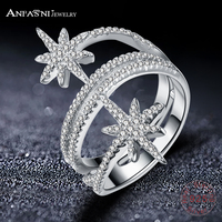 ANFASNI 100 925 Sterling Silver Star Meteor Rings For Women Finger Ring Famous Original Jewelry Fine