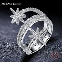 ANFASNI 100 925 Sterling Silver Star Meteor Rings For Women Finger Ring Famous Original Jewelry Fine