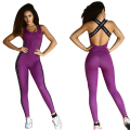 Fitness Bandage Jumpsuit Women Sportwear Backless Bodysuit Cross Straps Back Playsuit Purple Macacao One piece Jumpsuit Overalls