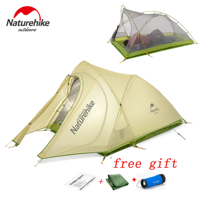 2017 Brand Naturehike Tent 2 Person 20D Silicone Fabric Double Layers Rainproof NH Outdoor Ultralight Camping Tent 4 season naturehike 2017 new arrived 2 person 3 season tent 20d silicone fabric double layer camping tent nh light tent free shipping