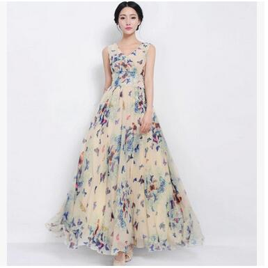 Women Summer Dress Maxi Long Chiffon Beach Dresses Loose Casual Butterfly  Printed Dress Slim Brand Vestidos PlusSize XXXL da7a7ebe7d63