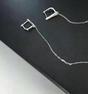Image 4 - デザイナーファッション 925 スターリングシルバージュエリー 3A キュービックジルコニアパーティーロングイヤリング