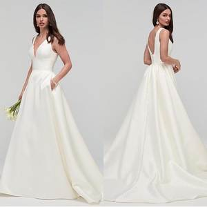 Amazing Satin V-neck  A-line Wedding Dress With Pockets Sleeveless Cheap Bridal Gowns 2019 Long Wedding Dress