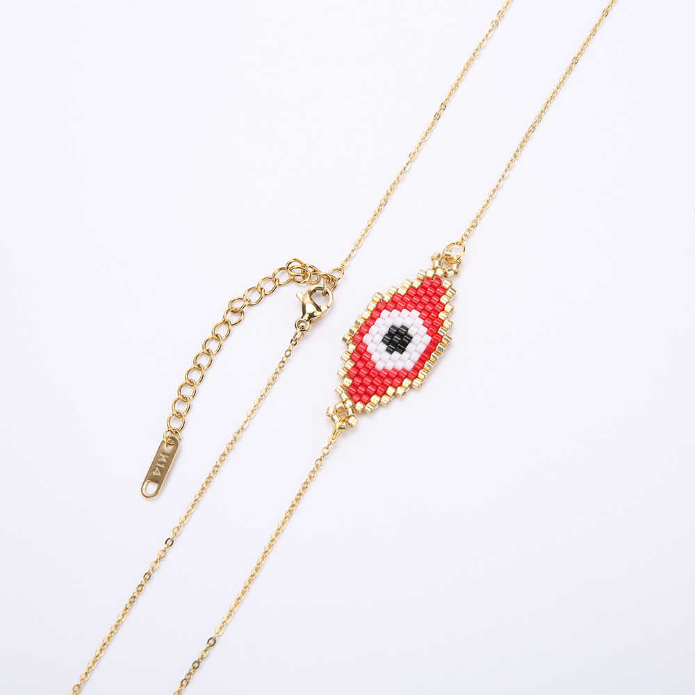 Rttooas Evil Eye Necklace Gold Color Stainless Steel Chain MIYUKI Beads Necklace for Women Jewelry