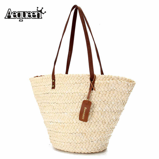 Aequeen Summer Style Beach Bag Women Straw Handbag Shoulder Brand Designer Handbags Las Casual Rattan