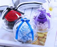 أحمر/الأرجواني/ارتفع الحفاظ الزهور الزرقاء مع زجاج قبة مربع ل حفل زفاف عيد الحب هدية الحسنات