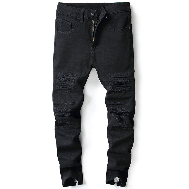 MORUANCLE Fashion Mens Hi Street Destroyed Jeans Pants Stretch Streetwear Ripped Distressed Denim Trousers For Man Back Zipper