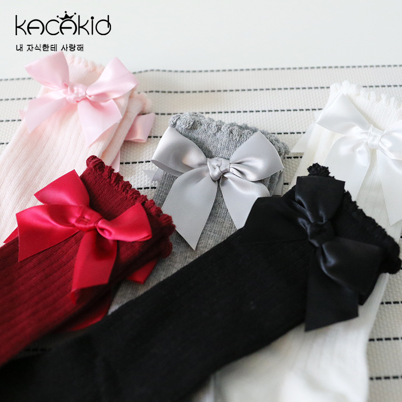 New Kids Socks Toddlers Girls Big Bow Knee High Long Soft Cotton Lace Baby Socks Kids Kniekousen Meisje