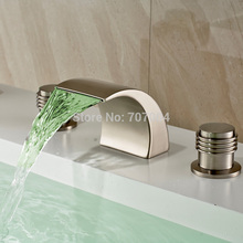 New Arrive LED Deck Mounted Brushed Nickel Basin Faucet Widespread Waterfall Dual Handles Bathroom Basin Sink