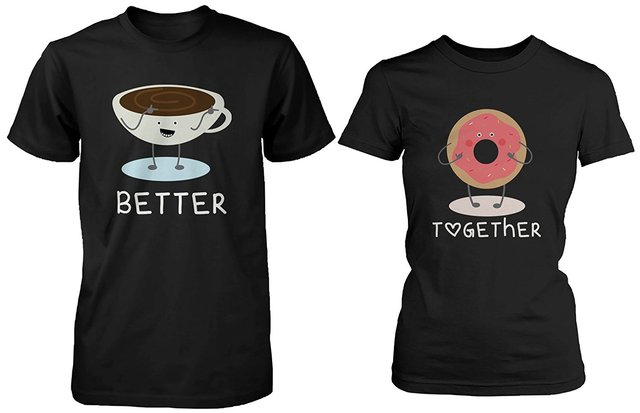 30dcd375a7 Gildan Cute Matching Couple Shirts - Coffee and Donut Better Together His &  Hers Gift