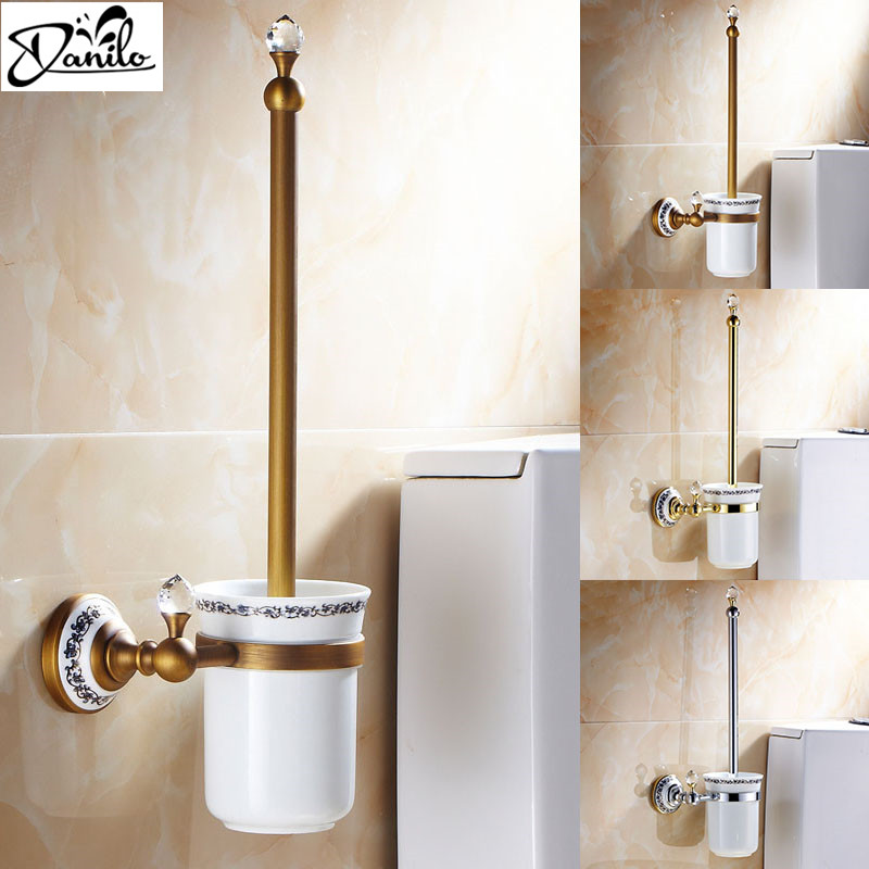 New High End Wall Mounted Toilet Brush Holders Brass Ceramic Cup Antique Gold Chrome 3 Colors