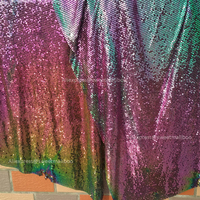 1PC 150 45cm Iridescent Blue Metal Mesh Fabric Metal Sequins For Apparel Fashion Jewelry Bags Mixed