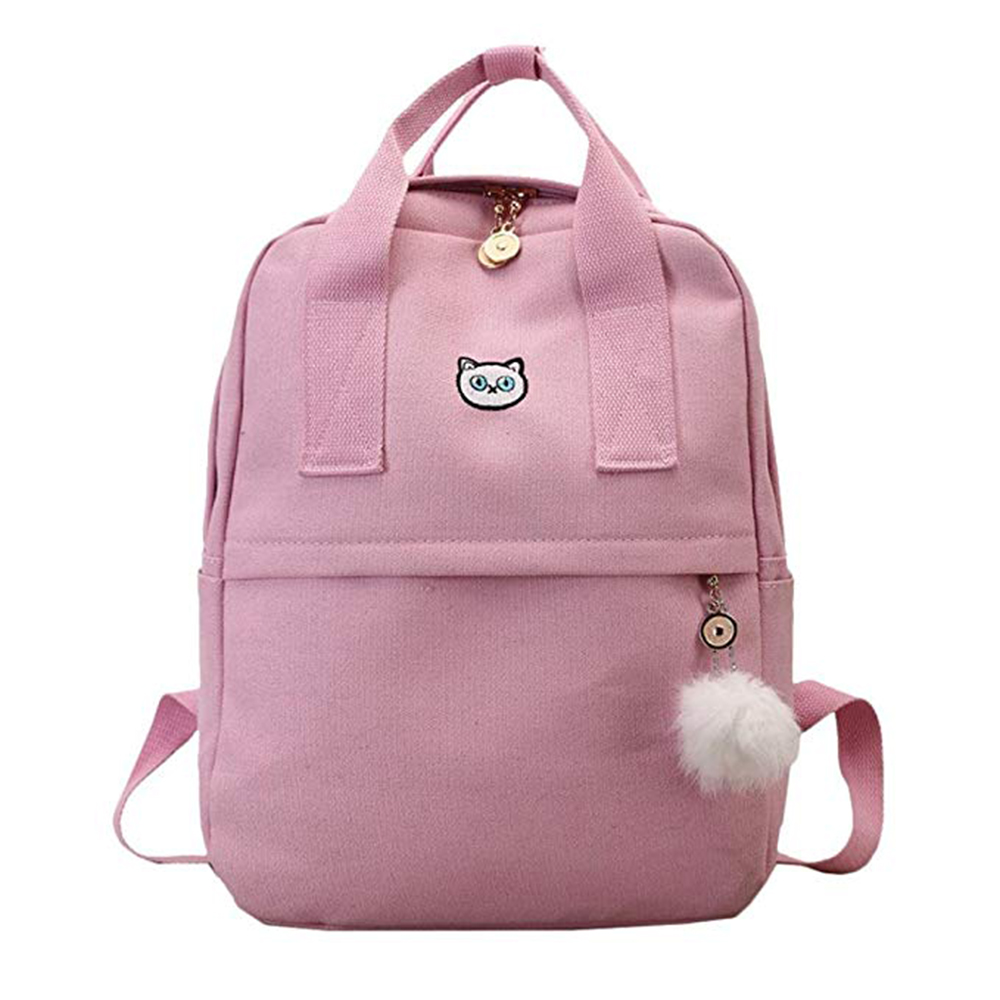 Adisputent Girl Canvas Backpack School Bag Student Backpack with Hairball Satchel Travel Shoulder Bag Adisputent Girl Canvas Backpack School Bag Student Backpack with Hairball Satchel Travel Shoulder Bag