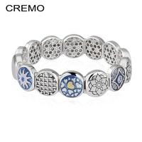 Cremo Heart Elastic Bracelet Femme Blue Enamel Modular Links Charm Bracelet Changeable Inventive Connector Patent Bracelet Joyas