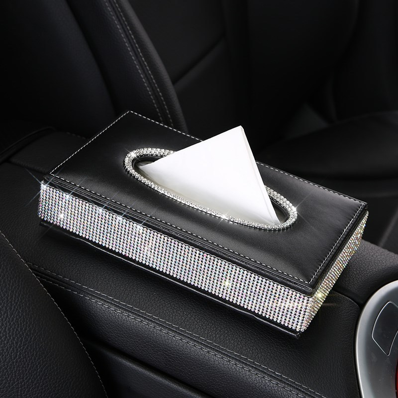 Bling Crystal car tissue Box Luxury PU Leather Auto Paper Box Holder Cover Case Tray for Home Office Automotive