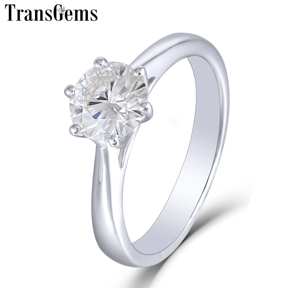 Transgems 14K 585 White Gold 1ct Carat Solitare Engagement Ring for Women 6 5mm F Color VVS Moissanite Diamond Ladies Ring in Rings from Jewelry Accessories