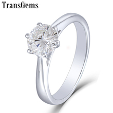Transgems 14K 585 White Gold 1ct Carat Solitare Engagement Ring for Women 6.5mm F Color VVS Moissanite Diamond Ladies Ring