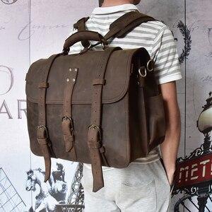 Homens grossos crazy horse couro portátil mochila grande capacidade de couro genuíno 17
