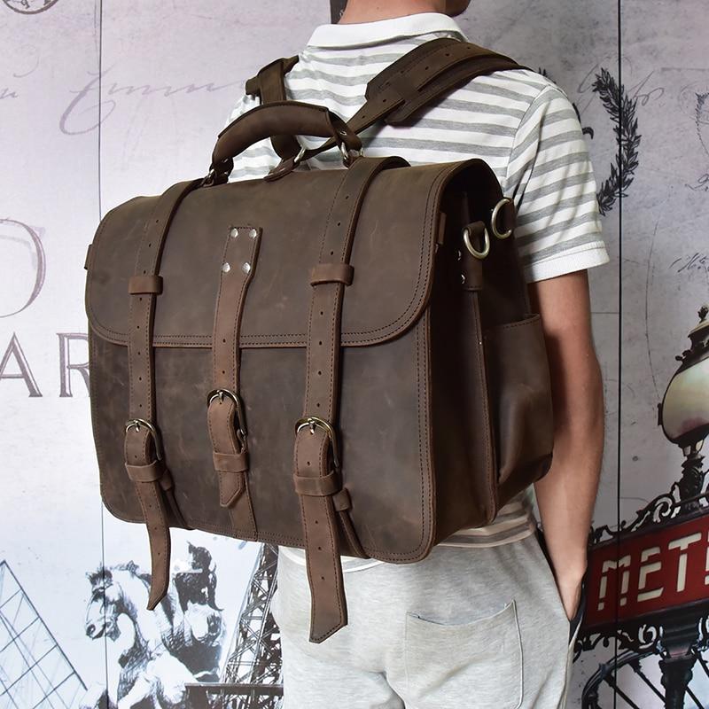 """Mężczyźni grube crazy horse skórzana torba na laptopa plecak prawdziwej skóry o dużej pojemności 17 """"PC pracy dużego ciężaru 3 użyj torba weekendowa na ramię torba w Teczki od Bagaże i torby na  Grupa 1"""