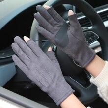 Imitation Suede Gloves Female Male Autumn Winter New Thicken Plus Velvet Unisex Driving Semi-Finger Woman Man SZ025