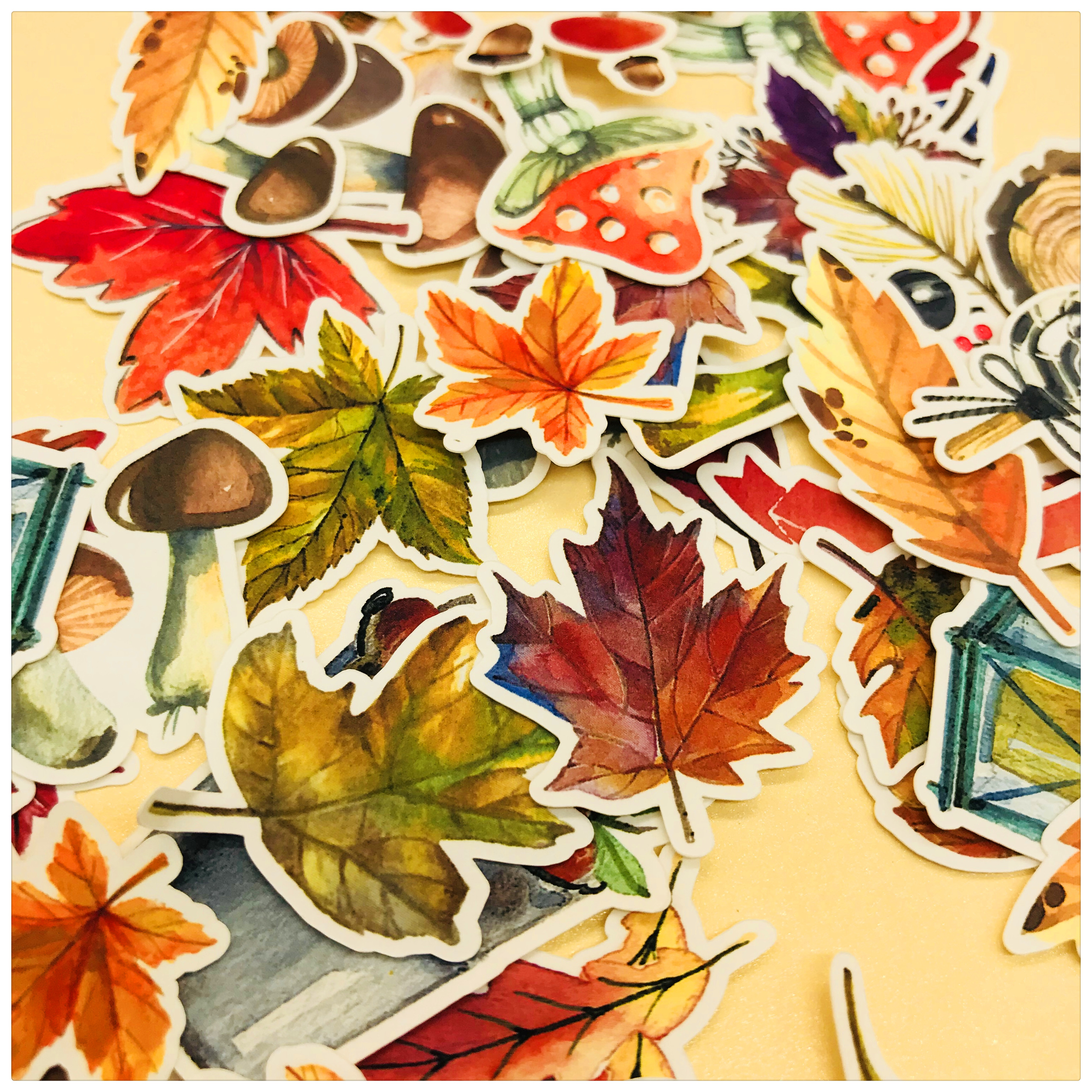 49pcs Autumn Maple Leaves And Mushrooms Decoration Stationery Sticker Diy Diary Scrapbooking Label Sticker Stationery