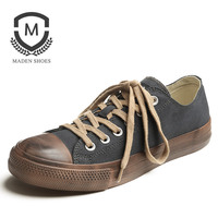 Maden Brand 2018 New Spring Vulcanized Shoes Classic Designer Breathable Mens Casual Retro Style Comfortable Canvas
